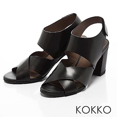 KOKKO -品味左岸情調交叉帶粗跟涼鞋-質感黑