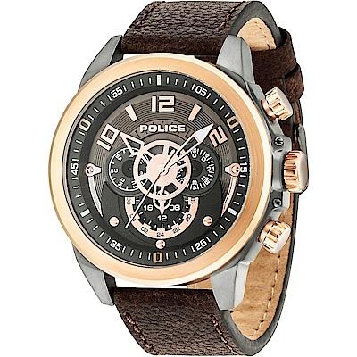 POLICE 強悍戰警三眼時尚手錶-灰X玫瑰金/50mm