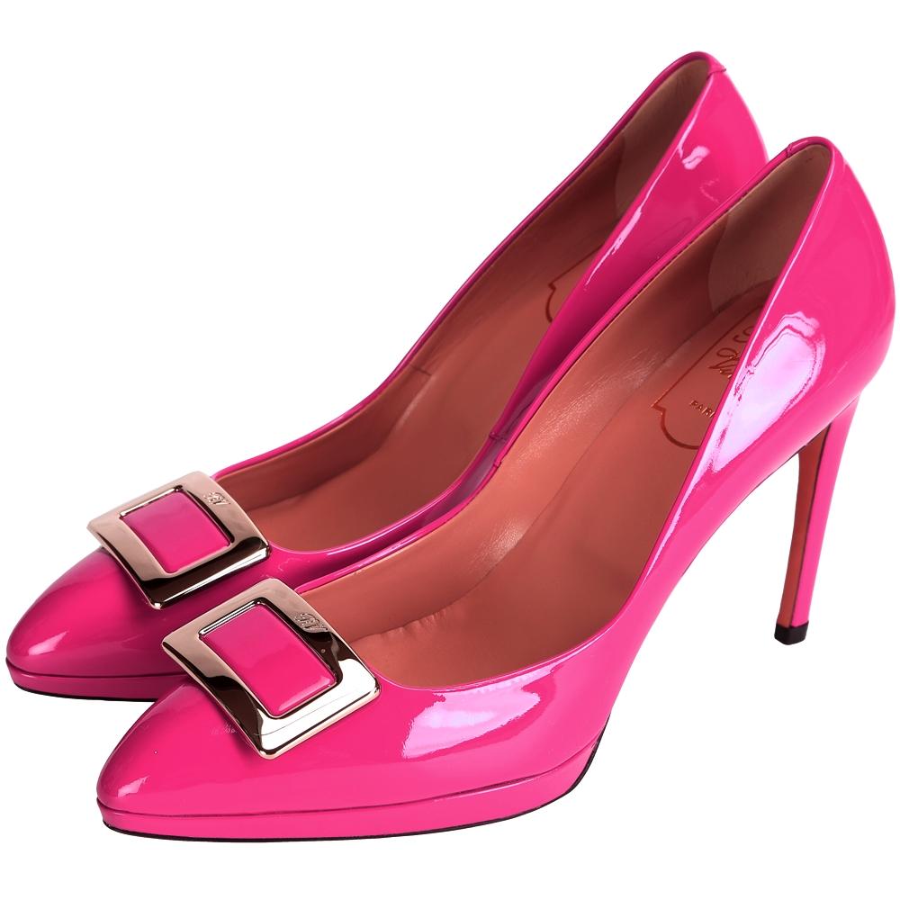 Roger Vivier 漆皮方框設計尖頭高跟鞋(桃紅色)