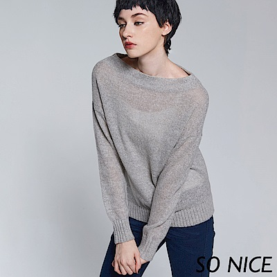 SO NICE船型領羊毛針織上衣
