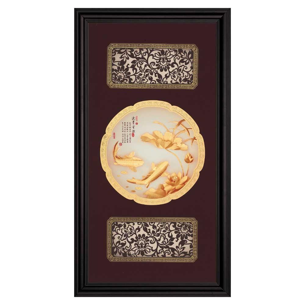 鹿港窯-立體金箔畫-連年有餘(圓滿系列27.5x50.5cm)