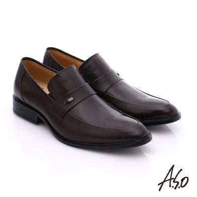 A.S.O 挺力氣墊 小牛皮直套式奈米氣墊皮鞋 咖啡色