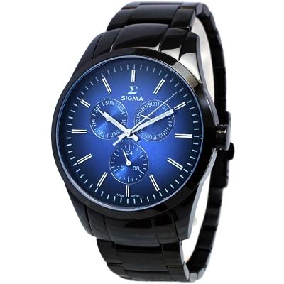 SIGMA 簡約藍寶石鏡面三眼時尚手錶-藍X黑/42mm