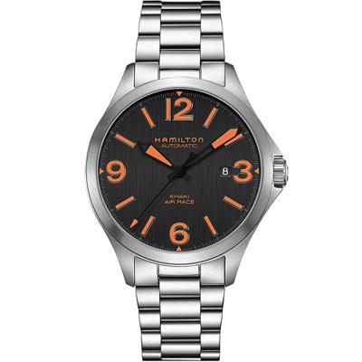漢米爾頓 KHAKI AVIATION AIR RACEH飛行機械腕錶-42mm/黑x銀