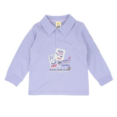 愛的世界-MYBABY-純棉POLO領側臂圖標長袖上衣-6-10歲