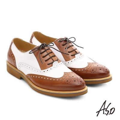 A.S.O 超輕雙核心 真皮拼接雕花奈米紳士皮鞋 茶色