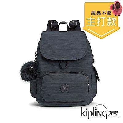 Kipling 後背包 質感條紋藍-中
