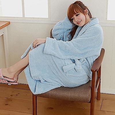 米夢家居-台灣製造水乾乾SUMEASY開纖吸水紗-柔膚浴袍(淺藍)