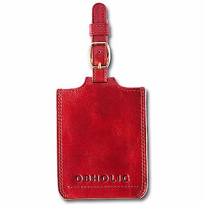 OBHOLIC 紅色牛皮行李吊牌旅行識別證套