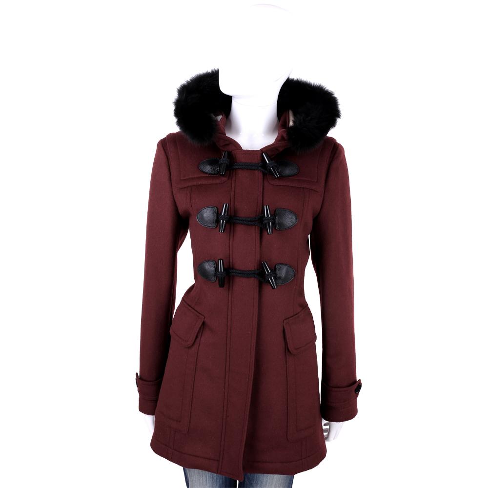 BURBERRY 酒紅色牛角扣羊毛大衣(100%WOOL)