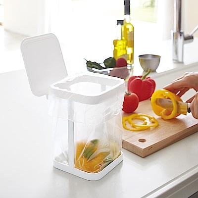 YAMAZAKI tower桌上型垃圾袋架-有蓋(白) 廚房收納/小型垃圾桶架/桌上垃圾桶
