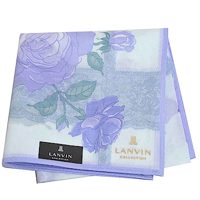 LANVIN 經典品牌玫瑰蕾絲圖騰燙金LOGO大帕領巾(藍系)