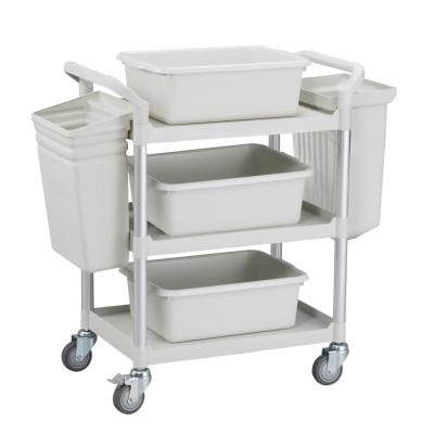 100%台灣製 標準型多功能三層工具餐車/置物架/手推車-全配優雅白