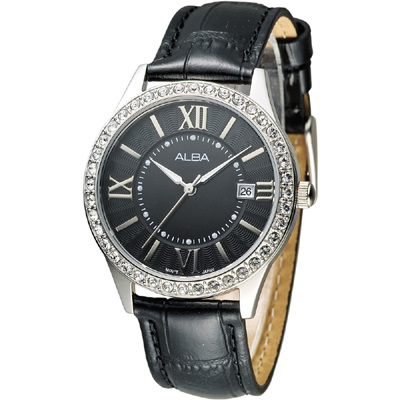 ALBA 浪漫維納斯晶鑽女錶(AG8487X1)-黑/36mm