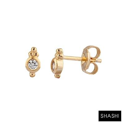 SHASHI 紐約品牌 Ballerina Stud 圓形單鑽耳環 925純銀鑲18K金