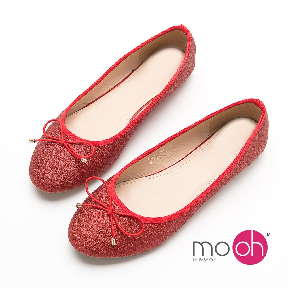 mo.oh  蝴蝶結亮片軟皮圓頭平底娃娃鞋-紅色