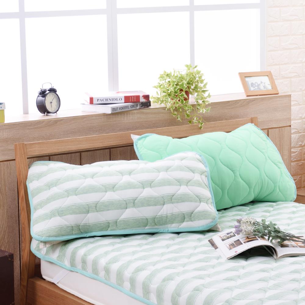 喬曼帝Jumendi 超涼感纖維針織枕頭保潔墊-條紋綠