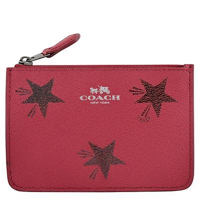 COACH-桃紅色星星圖樣PVC鑰匙零錢包
