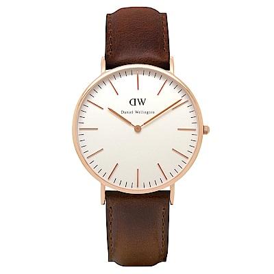 DW Daniel Wellington 時尚深咖皮革腕錶(0109DW)-金框/40mm