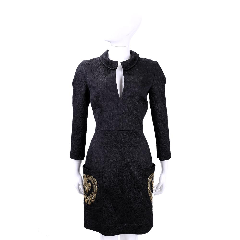 PHILOSOPHY 黑色浮雕刺繡圖騰九分袖洋裝