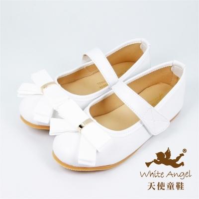 天使童鞋-J912 俏麗夏綠蒂公主鞋(中-大童)-白