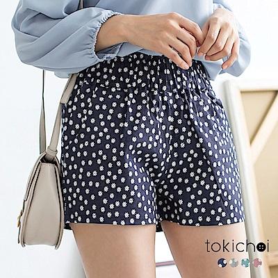東京著衣 花朵圖案高腰短褲-XS.S.M.L(共四色)