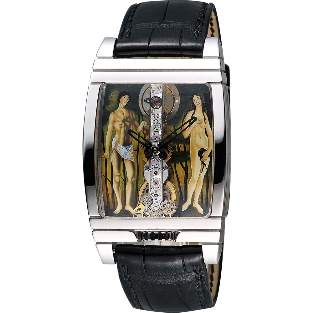 Corum 崑崙 金橋亞當夏娃彩繪白K限量手動上鍊機械腕錶-30mm