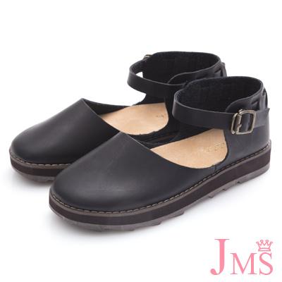 JMS-學院風造型穿邊包跟厚底娃娃鞋-黑色