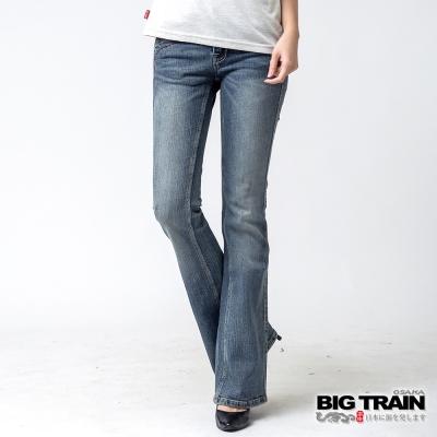 BIG TRAIN 伸縮中腰配線靴型褲-女-淺藍