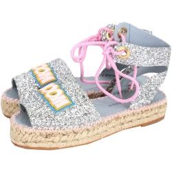 Chiara Ferragni Glitter 綁繩設計亮片厚底涼鞋(銀色)