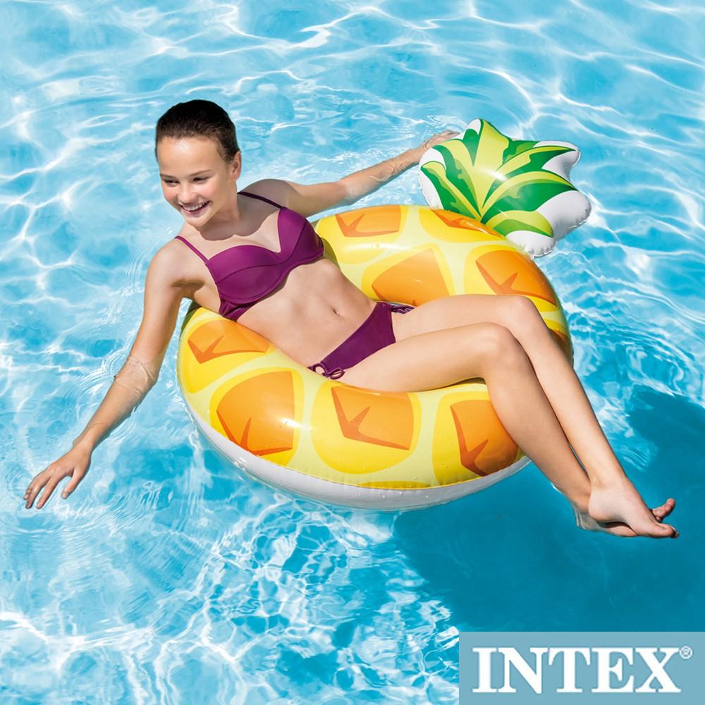 INTEX 鳳梨PINEAPPLE游泳圈117x86cm適用9歲+(56266)