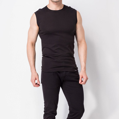 發熱衣-發熱無袖圓領衫-黑-MORINO