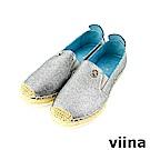viina-休閒系列-閃耀金屬質感草編鞋-氣質銀