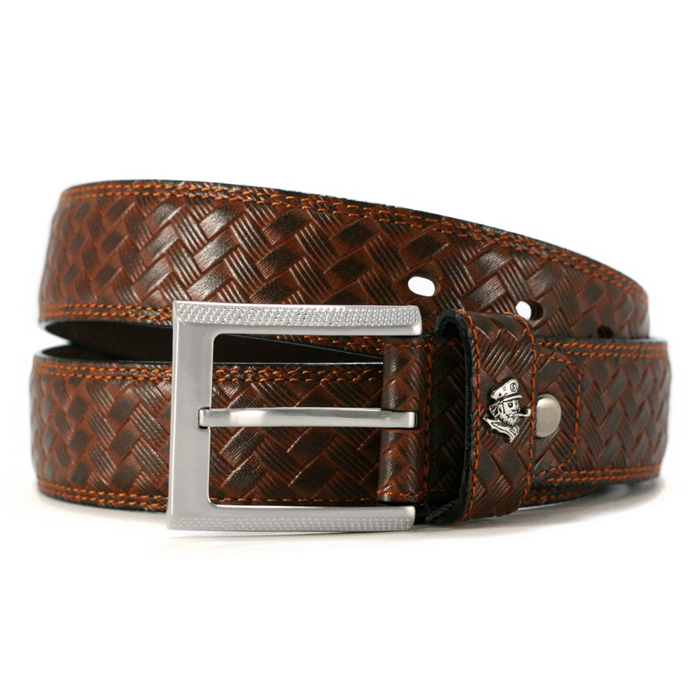 SINA COVA 老船長牛皮編織壓紋休閒皮帶SC2255-3-褐色