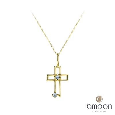 amoon 戀戀東京系列 堅定 10K金鑽石項鍊-黃K金