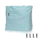 ELLE 輕旅休閒可掛式摺疊收納尼龍手提肩背包- 格紋綠 EL82357