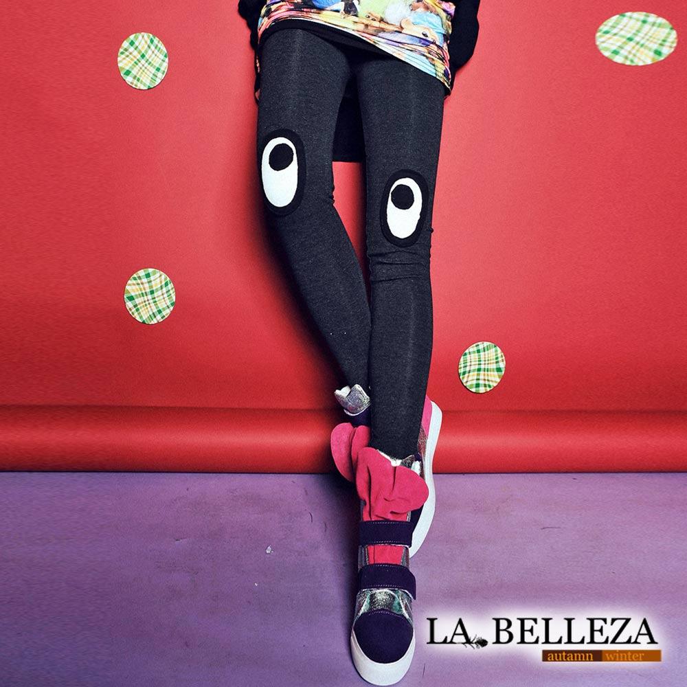 【La Belleza】古著‧立體大眼睛拼貼刷毛內搭褲 (深灰)