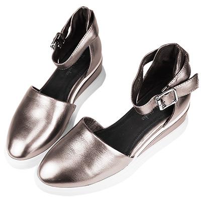 Robinlo Studio 日系街頭厚底牛皮包趾涼鞋 錫灰