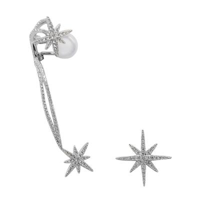apm MONACO法國精品珠寶 閃耀銀色流星線條鑲鋯耳骨夾耳針式耳環
