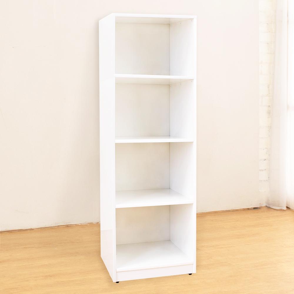 Bernice-防潮防蛀塑鋼白色四格收納櫃-43x40x134cm