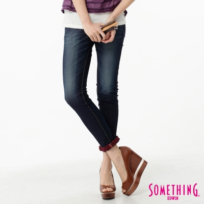 SOMETHING-閃色圓織窄直筒牛仔褲-女-原藍磨