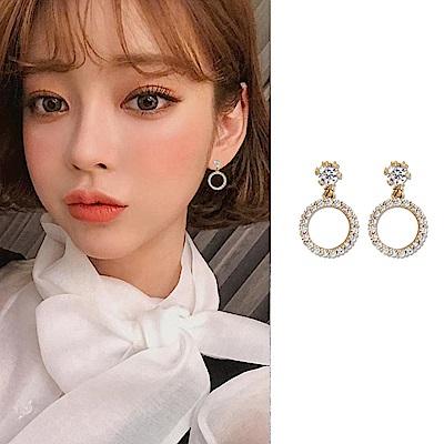 梨花HaNA 韓國925銀簡單品味鋯石圈飾綴鑽耳環