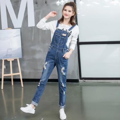 韓風刷破俏皮寬鬆吊帶牛仔褲M-XL-REKO