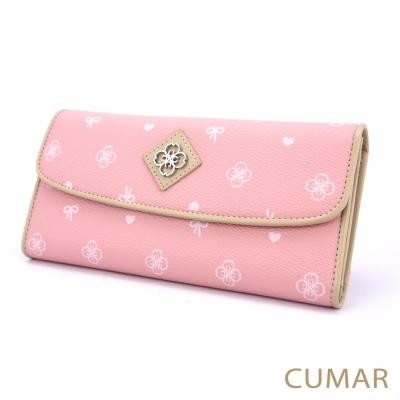 CUMAR-櫻花圖騰摺疊長夾-粉紅
