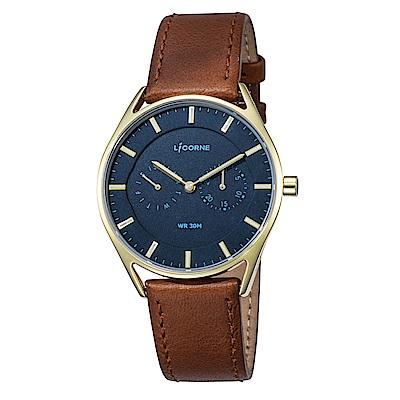 LICORNE力抗錶 經典時尚簡約手錶 藍x咖啡/40mm