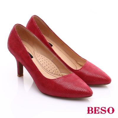 BESO-極簡風格-全真皮厚軟墊氣質高跟鞋-紅