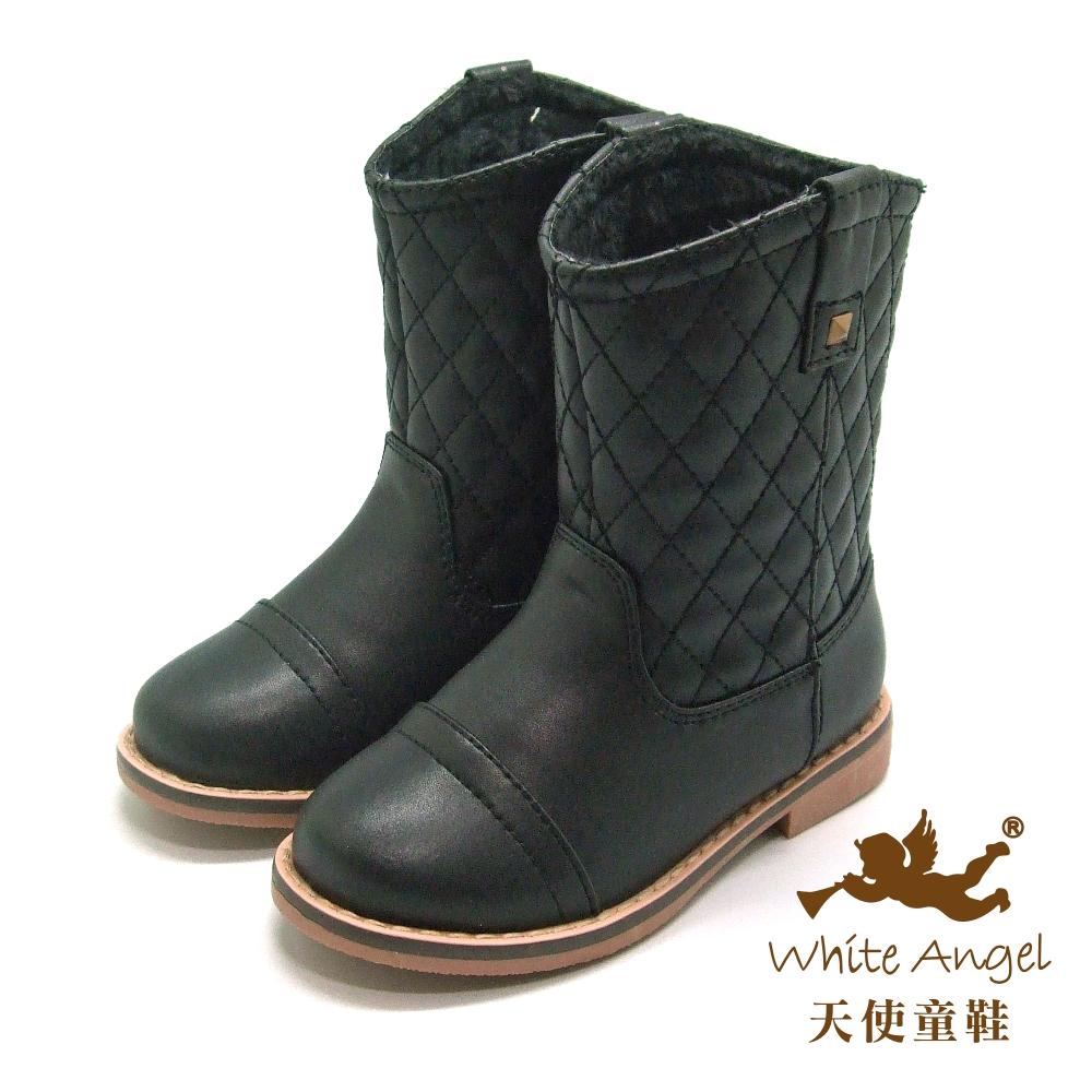 天使童鞋-D0391 時尚格菱紋筒靴(中-大童)-紳士黑