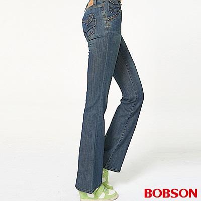 BOBSON 女款貼袋薄布喇叭褲