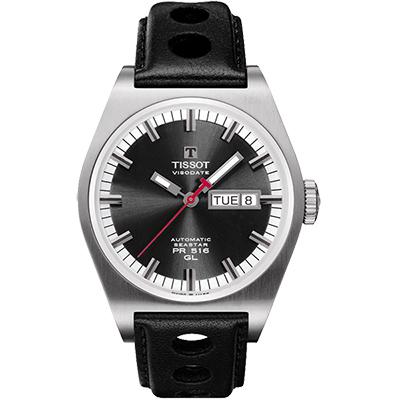 TISSOT Heritage PR 516 復刻版賽車運動腕錶-黑/40mm