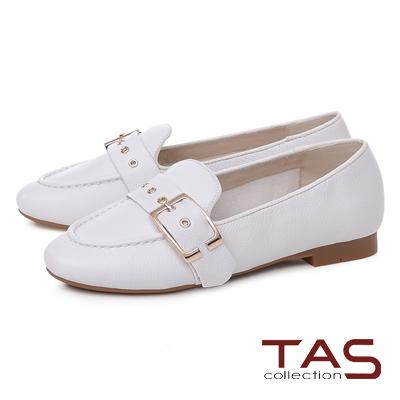 TAS 金屬皮帶扣立體縫線樂福鞋-氣質白